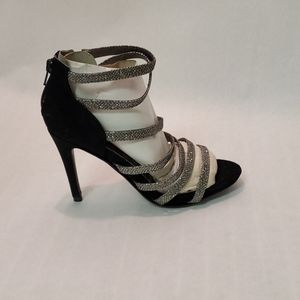 NEW Black and Silver Strappy Heels